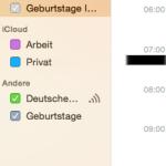 Kalender im Mac - linke Seitenleiste