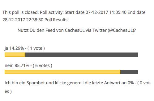 CachesUL-Umfrageergebnis-28.12.2017 - 1 Ja - 6 Nein - 0 Spambot